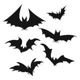 Set of bats for Halloween. Collection of black bats. Silhouettes of flying monsters. The bloodsuckers. Clip art for. Halloween Stock Photography