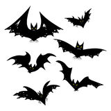 Set of bats for Halloween. Collection of black bats. Silhouettes of flying monsters. The bloodsuckers. Clip art for. Halloween Royalty Free Stock Photos