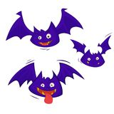 Set of 3 Bats isolated on a white background. Creepy and cute flying webbed winged smiling mammal as a spooky vampire horror symbol or halloween celebration Royalty Free Stock Image