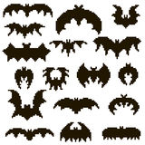 Set of 17 of bats in pixels. 