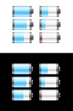Set of batteries or cells showing the charge Royalty Free Stock Photography