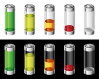 Set of Batteries in Colors. Set of colorful batteries on white and black background Stock Photo