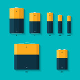 Set of batteries of different sizes. AAAA, AAA, D, C and AA batteries. Kinds of batteries. Set of batteries of different sizes. AAAA, AAA, D, C and AA batteries Stock Photo