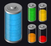 Set Batteries Icon. Various Types Charged Royalty Free Stock Photos