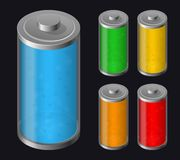 Set Batteries Icon. Various Types Charged Stock Photos