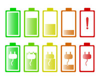 Set of batteries. Icons for battery on a white background Stock Images