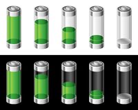 Set of Batteries. On white and black background Royalty Free Stock Images