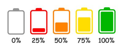 Set of battery charge level indicator in percent -. Stock Royalty Free Stock Photo