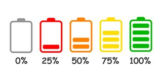 Set of battery charge level indicator in percent - vector. Set of battery charge level indicator in percent - stock vector Royalty Free Stock Photos