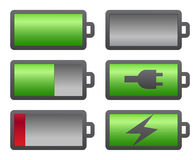 Set of battery charge level indicators Stock Photos