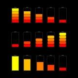 Set of battery charge level indicators Stock Image
