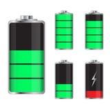 Set of battery charge levels illustration. On a white background royalty free illustration