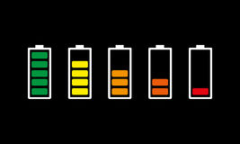 Set of battery charging icons. Vector illustration. Stock Photo
