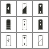 Set of Battery Icons. Set of black battery icons on white background for graphic design and Internet sites. Vector illustration Vector Illustration