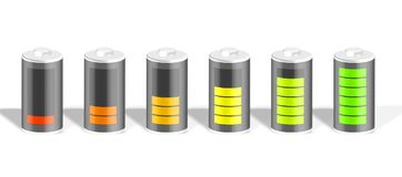 Set of battery icons with different charge level. Battery charge showing stages of power running low and full. 3d render illustration Stock Images