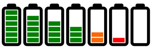 Set of battery icons with different levels of charge. Set of battery icons showing different levels of charge stock illustration