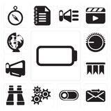 Set of Battery, Send, Switch, Settings, Binoculars, Bookmark, Me stock illustration