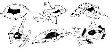Set of battle spaceships. vector illustration 4 Royalty Free Stock Photos