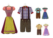 Set of Bavarian clothing  Dirdle and Lederhosen. Traditional German Bavarian clothing  Dirdle and Lederhosen . October fest. Greeting card from Munich Stock Photography
