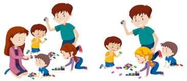 Set bawić się z blokami rodzina ilustracja wektor