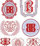 Set of BB monograms and emblem templates Royalty Free Stock Photos