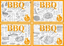 Set bbq barbecue grill posters elements grilled food sausages chicken french fries, steaks fish BBQ bar vegetables party welcome. Set bbq barbecue grill posters stock illustration