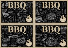 Set bbq barbecue grill posters elements grilled food sausages chicken french fries, steaks fish BBQ bar vegetables party welcome. Set bbq barbecue grill posters vector illustration