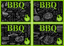 Set bbq barbecue grill posters elements grilled food sausages chicken french fries, steaks fish BBQ bar vegetables party welcome. Set bbq barbecue grill posters royalty free illustration