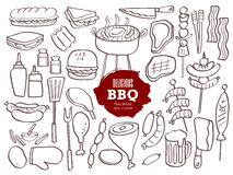 Set of BBQ doodles. Set of hand drawn BBQ doodles Royalty Free Stock Image
