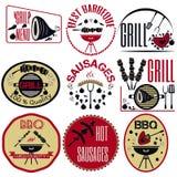 Set bbq, grill; sausages; restaurant; steak; retro vintage badge Royalty Free Stock Photography