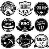 Set bbq, grill; sausages; restaurant; steak; retro vintage badge Royalty Free Stock Photography