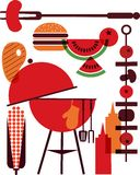 Set of bbq objects Stock Photography
