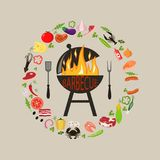 Set of bbq objects royalty free illustration
