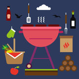 Set of bbq objects. Vector and flat illustration. Royalty Free Stock Photography