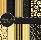 Set of beaautiful  gold and black paper Royalty Free Stock Photography