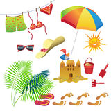 Set-beach. Set of items for recreation during the summer Stock Images