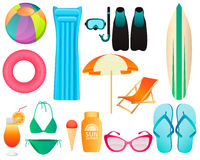 Set of beach accessories. Summer vacation. Vector illustration Royalty Free Stock Images