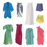 Set of beach capes. Different models, short and long, isolated on white background royalty free illustration