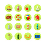 Set of beach colored icons Stock Photography