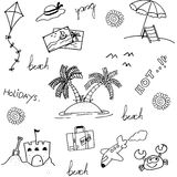 Set of beach doodle Stock Images