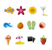 Set  beach icons Stock Images