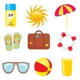 Set of beach icons Stock Image