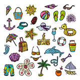 Set of beach icons. Beautiful vector design Stock Images