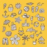 Set of beach icons. Stock Photos