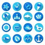 Set of beach icons. Beautiful vector design Stock Photos
