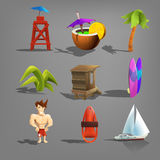 Set of beach icons. Stock Images
