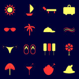Set beach icons. Yellow collection Royalty Free Stock Images