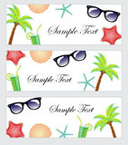 A set of beach items, accessories, tourism, travel banner. Template banner summer theme, beach. Palma, cocktail, starfish, sunglas Stock Photo