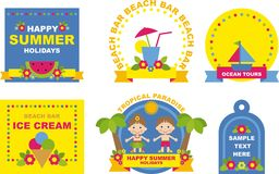 Set of beach labels and badges Stock Photos