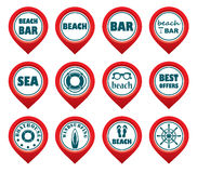 Set of beach map pointers. Stock Photos